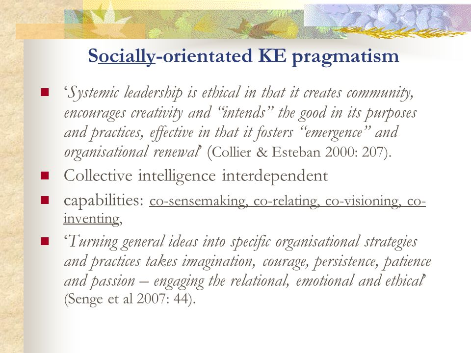Socially-orientated KE pragmatism
