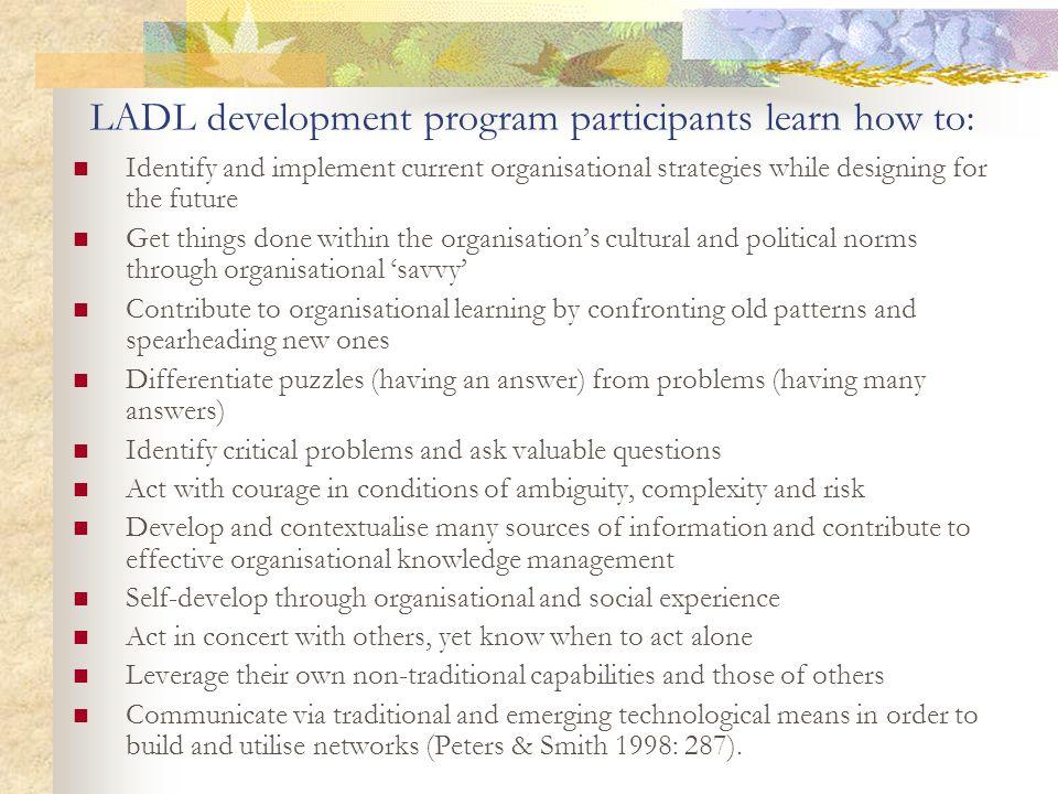 LADL development program participants learn how to: