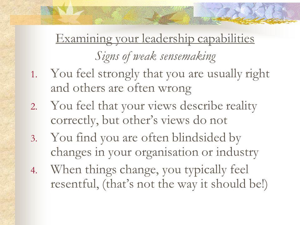 Examining your leadership capabilities Signs of weak sensemaking