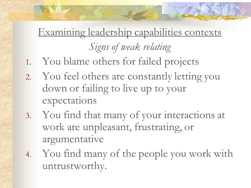 Examining leadership capabilities contexts