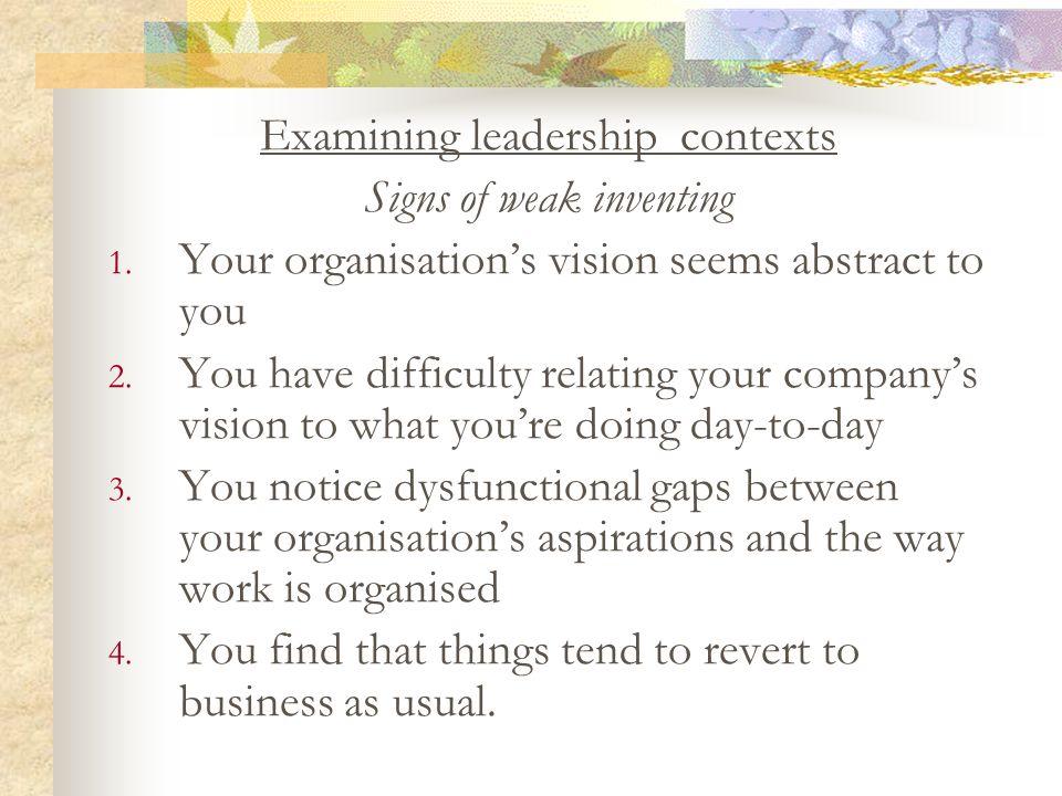 Examining leadership contexts Signs of weak inventing