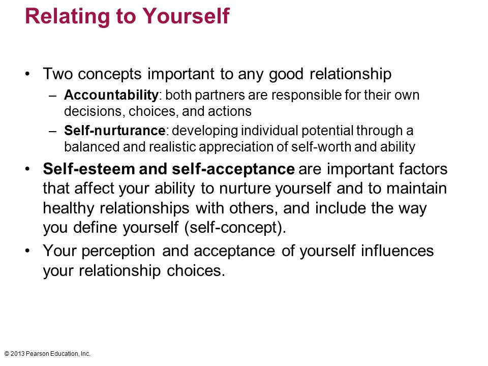 Relating to Yourself Two concepts important to any good relationship