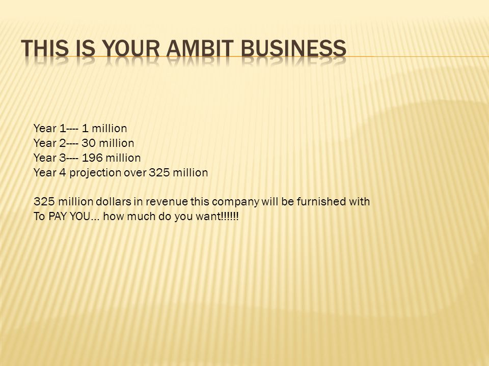 This is YOUR Ambit business