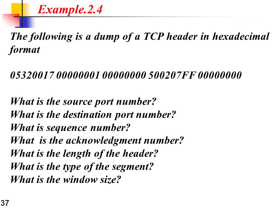 Example.2.4 The following is a dump of a TCP header in hexadecimal format FF