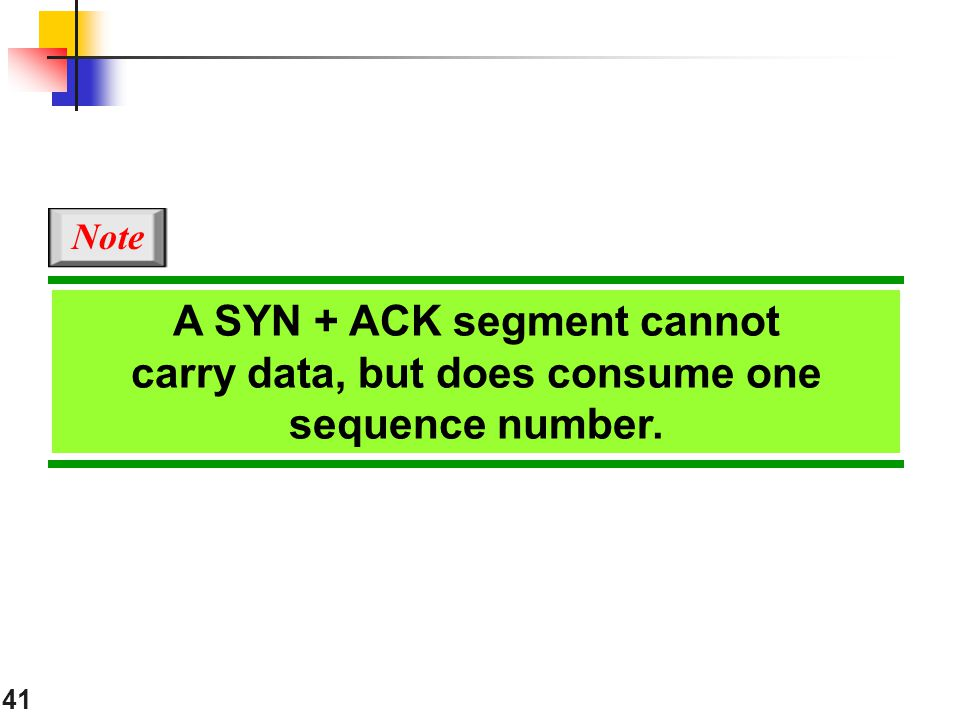 Note A SYN + ACK segment cannot carry data, but does consume one sequence number.