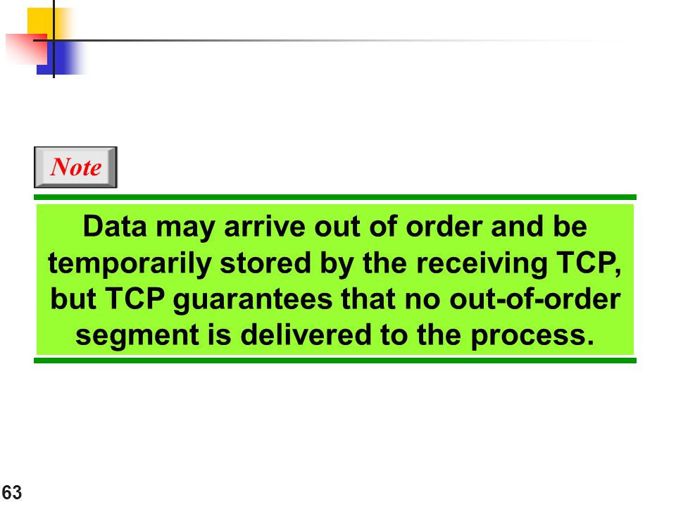 Note Data may arrive out of order and be temporarily stored by the receiving TCP,