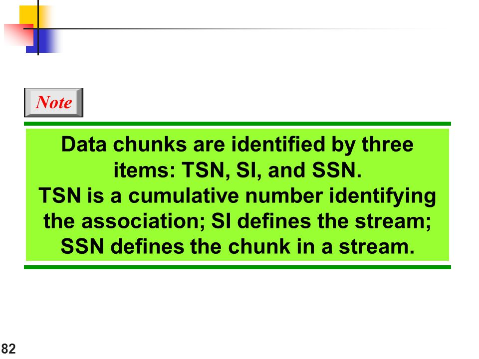 Data chunks are identified by three items: TSN, SI, and SSN.