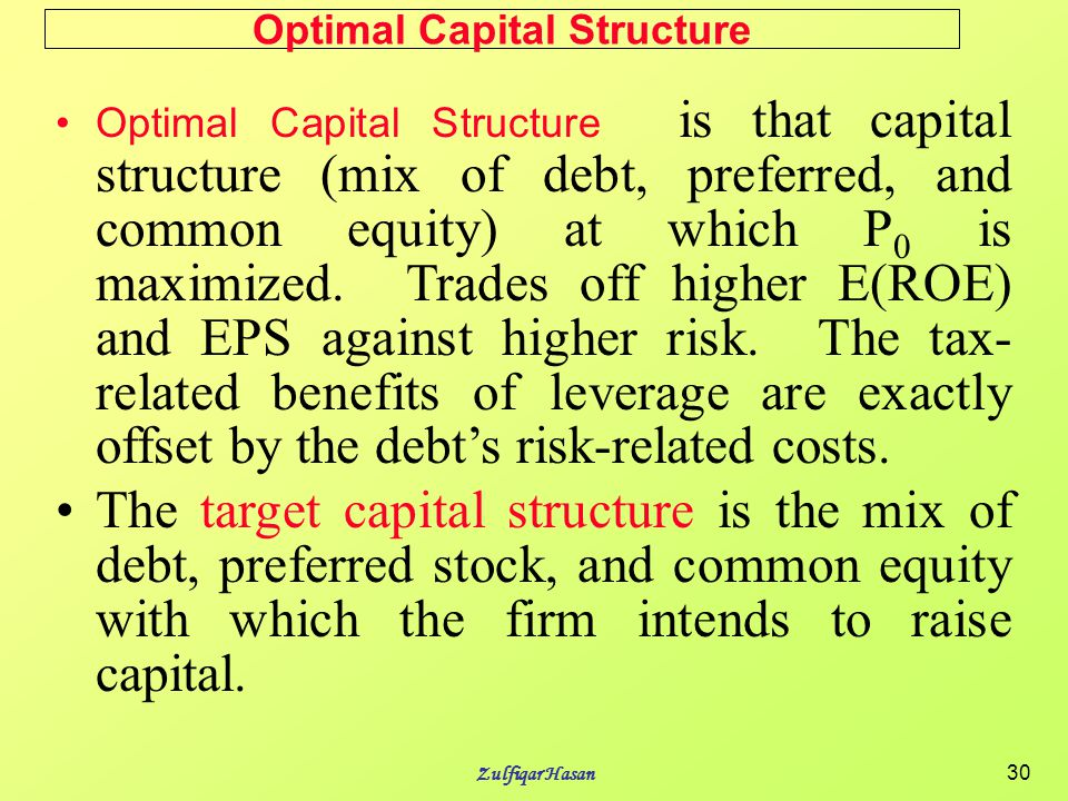the optimal capital structure debt The results show that both coke and pepsico are currently at their optimal debt  ratio keywords: capital structure, trade-off theory, cost of capital, optimal debt.