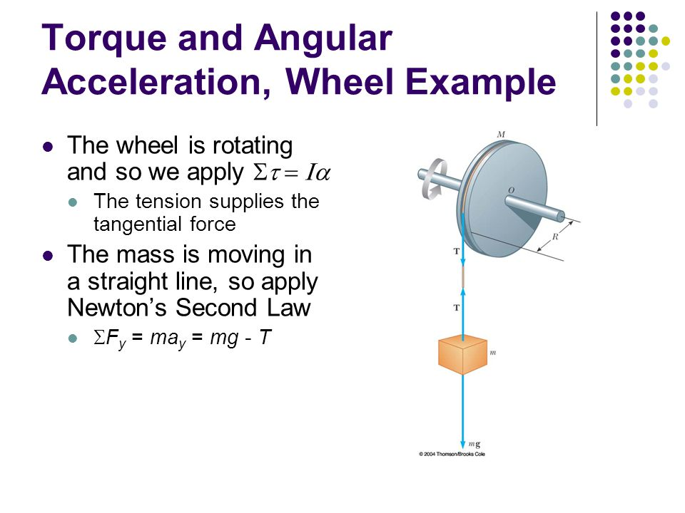 mass and angular acceleration Relation between torque and angular acceleration next: relation between torque and angular acceleration consider a mass m moving in a circle of radius r.