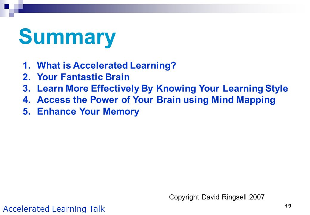 Summary What is Accelerated Learning Your Fantastic Brain