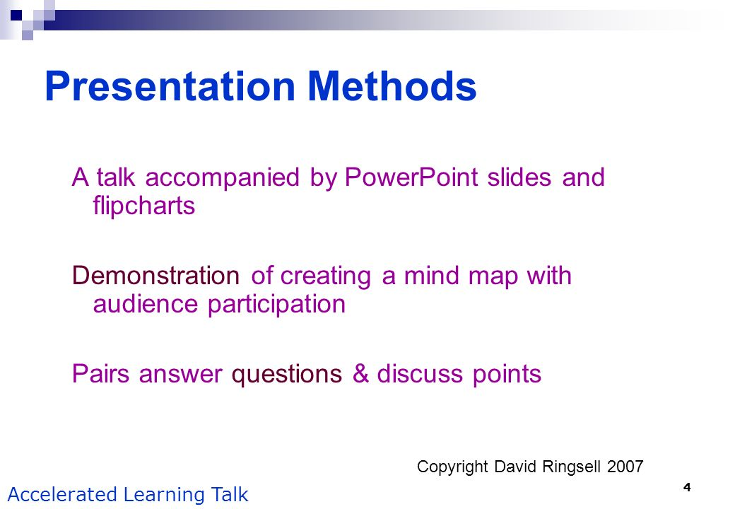 Presentation Methods A talk accompanied by PowerPoint slides and flipcharts. Demonstration of creating a mind map with audience participation.