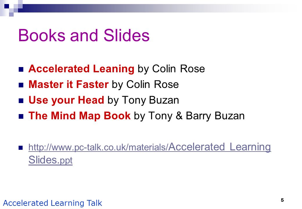 Books and Slides Accelerated Leaning by Colin Rose