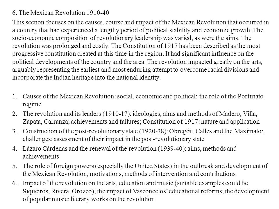 essay mexican revolution The history of mexican immigration to the us in the early 20th century  in the end, though, gándara was convicted of arms smuggling and fomenting revolution.