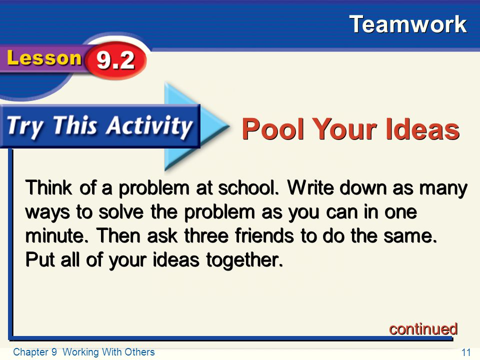Try This Activity Pool Your Ideas.