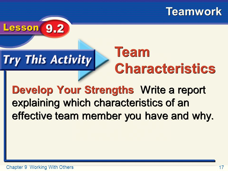 Try This Activity Team. Characteristics.