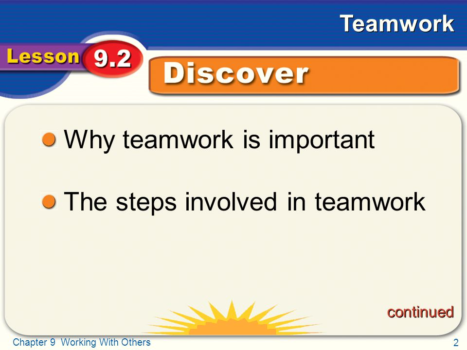 Why teamwork is important The steps involved in teamwork