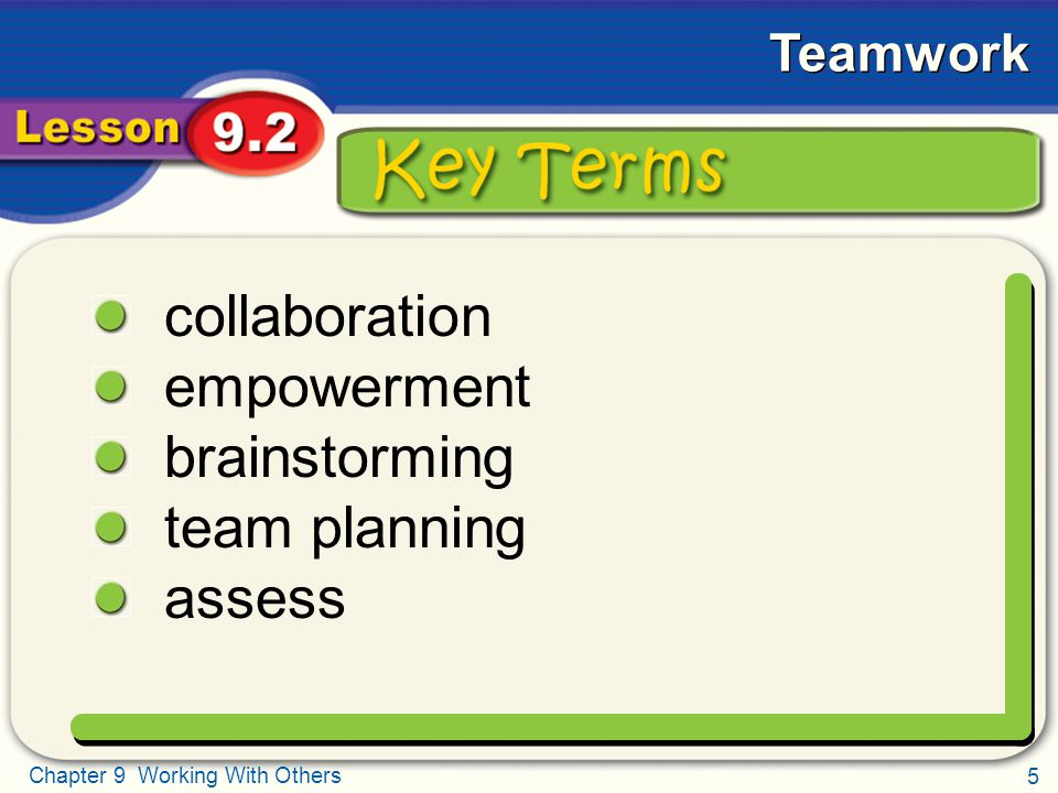 Key Terms collaboration empowerment brainstorming team planning assess