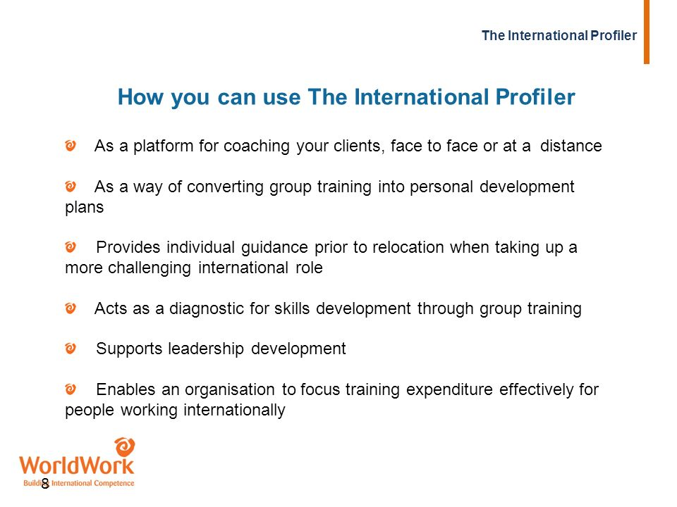 How you can use The International Profiler