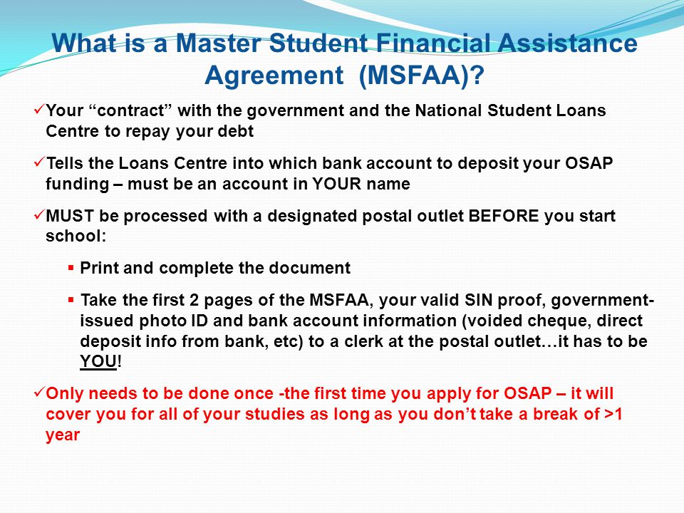 Master Student Financial Assistance Agreement Ontario Gallery