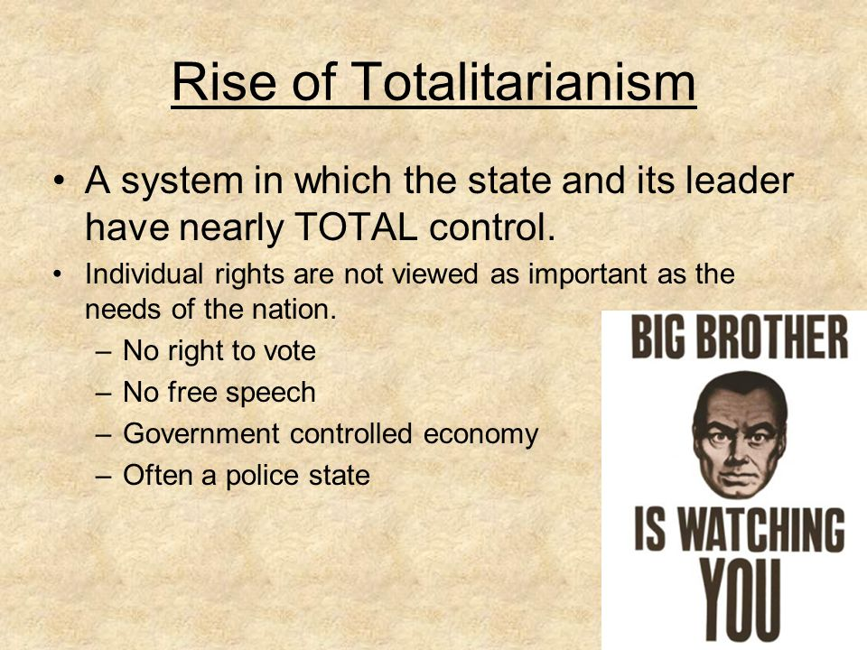 rise of totalitarianism Social and political unrest after world war i led many europeans to embrace  totalitarianism this chapter discusses the rise of totalitarian regimes, the second .