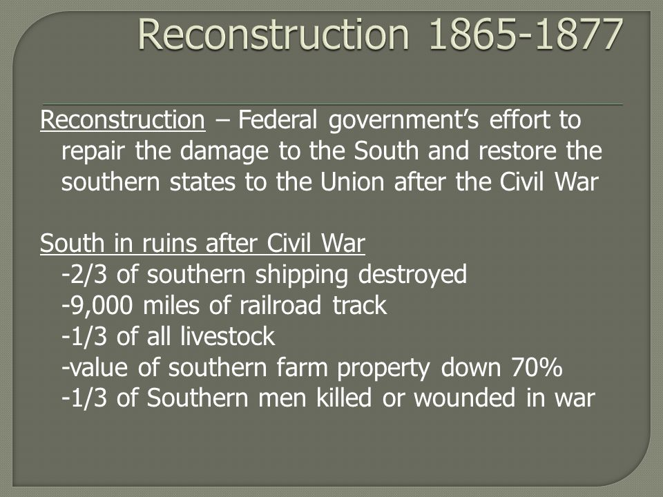 history thesis reconstruction era The reconstruction era followed the abolishment of slavery and gave hope to reconnect families and become political, social, and economic equals with the white men who once enslaved them sadly, this was all false hope the freedmen and freedwomen in the south became sucked back into a slavery by a different name type of servitude for.