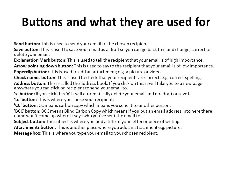 Buttons and what they are used for
