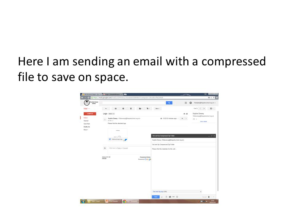 Here I am sending an  with a compressed file to save on space.