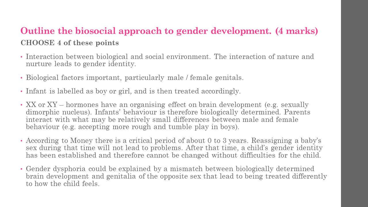 planning an essay ppt video online  outline the biosocial approach to gender development 4 marks