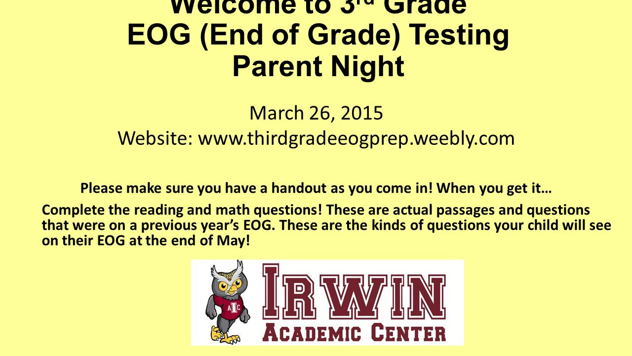 Welcome to 3rd grade eog end of grade testing parent night ppt welcome to 3rd grade eog end of grade testing parent night thecheapjerseys Images