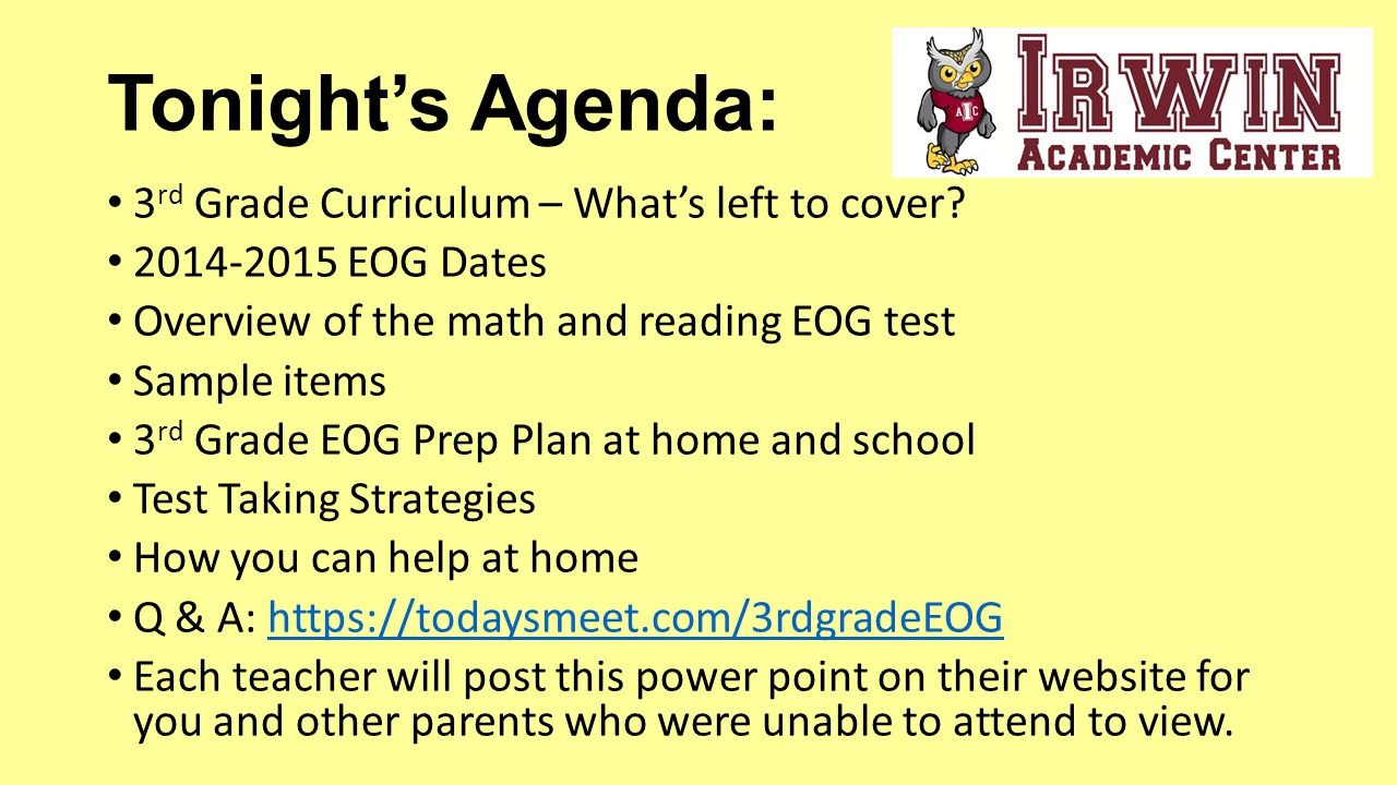Welcome to 3rd grade eog end of grade testing parent night ppt tonights agenda 3rd grade curriculum whats left to cover thecheapjerseys Images