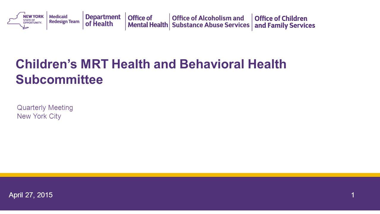 Children's MRT Health and Behavioral Health Subcommittee