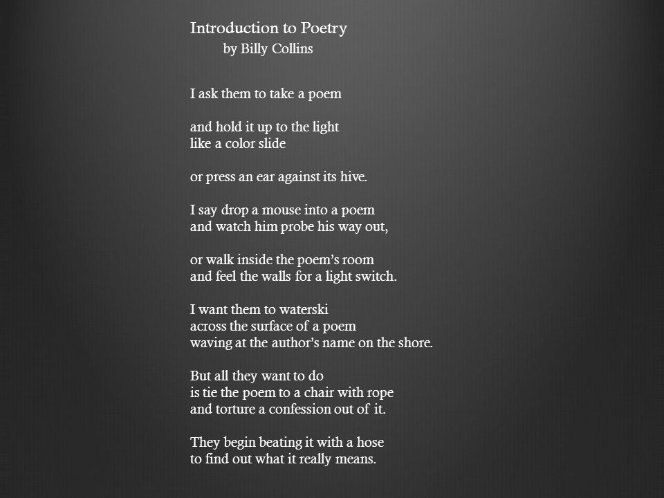 introduction to poetry billy collins pdf