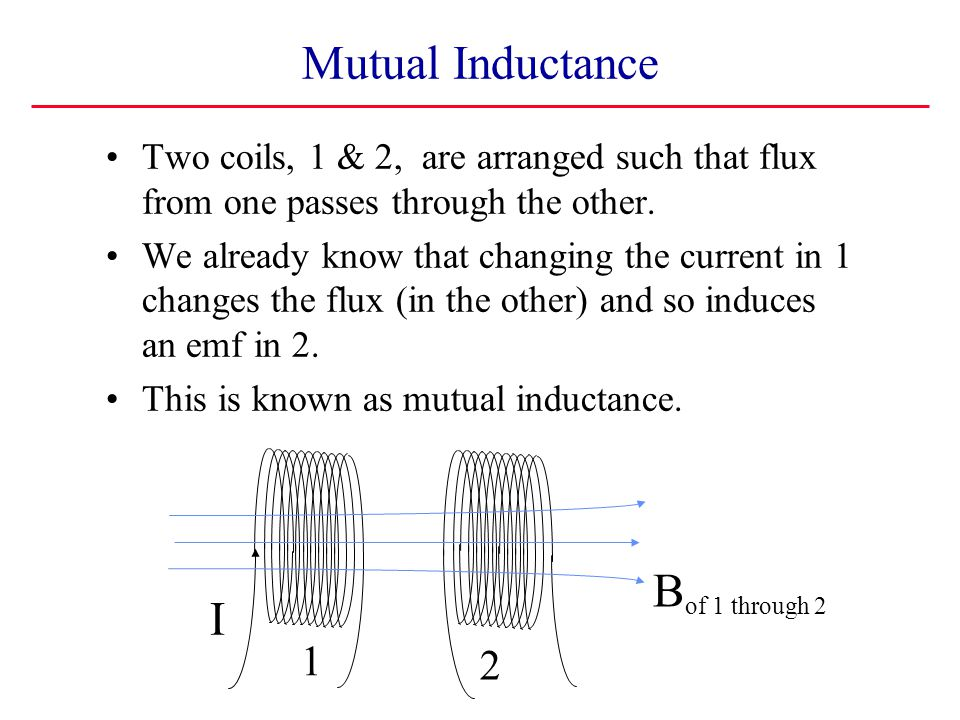Mutual Inductance Bof 1 through 2 I 1 2