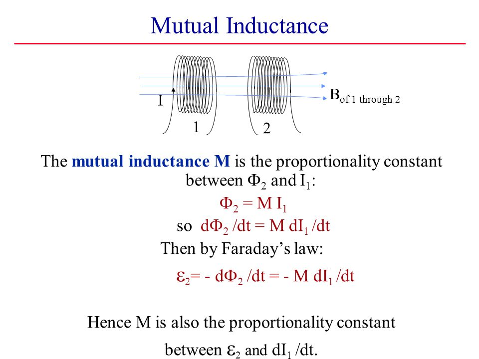 Mutual Inductance I Bof 1 through 2. The mutual inductance M is the proportionality constant between F2 and I1: