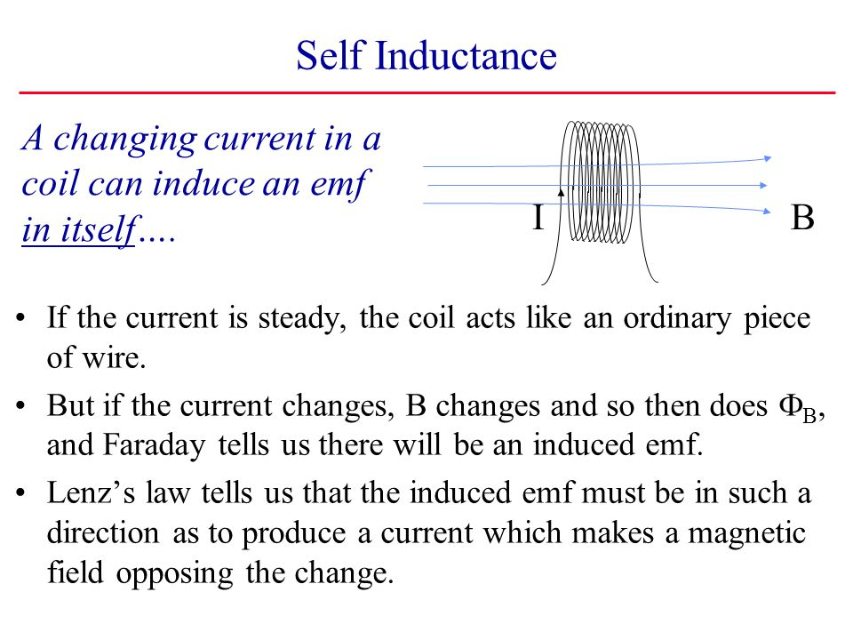 Self Inductance A changing current in a coil can induce an emf