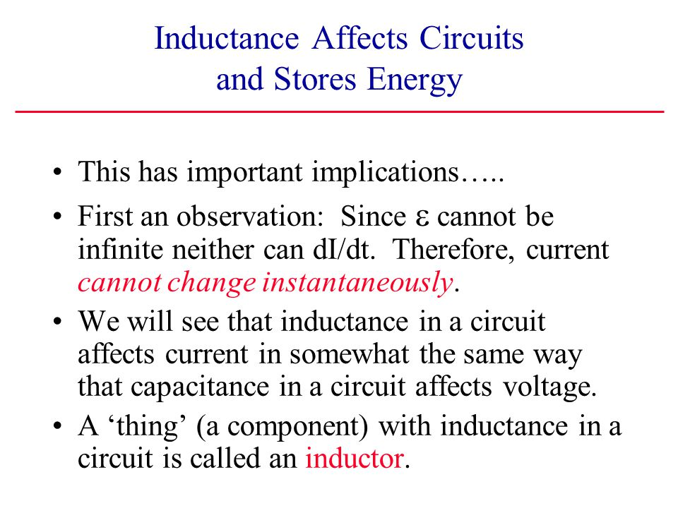 Inductance Affects Circuits and Stores Energy