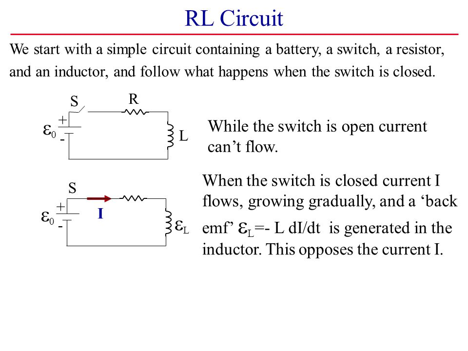 RL Circuit e0 e0 eL While the switch is open current can't flow.