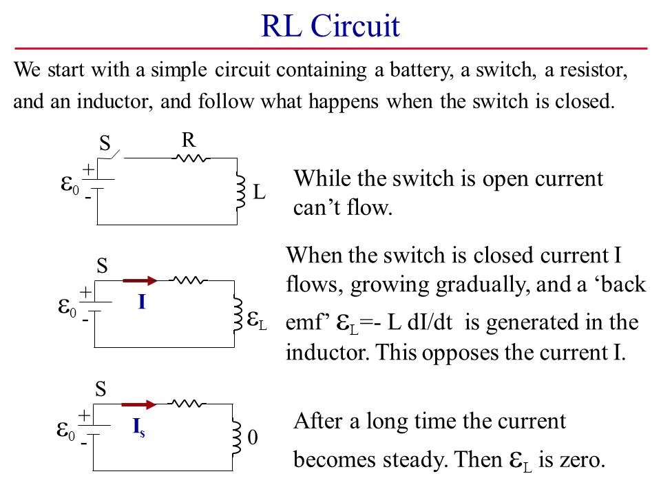 RL Circuit e0 e0 eL e0 While the switch is open current can't flow.