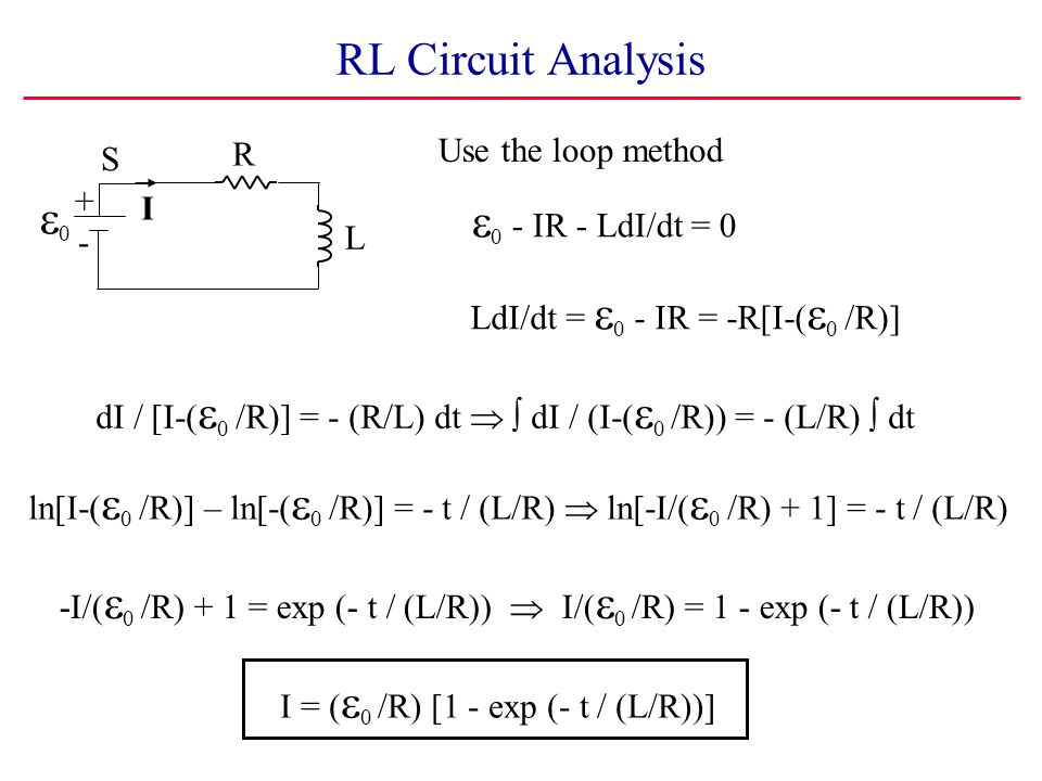 RL Circuit Analysis e0 e0 - IR - LdI/dt = 0 Use the loop method R S +