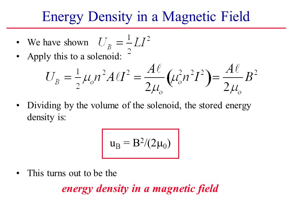 Energy Density in a Magnetic Field