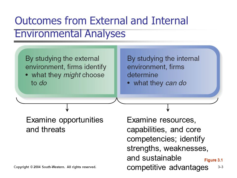 examining the internal environment A swot analysis focuses on the internal and external environments, examining  strengths and weaknesses in the internal environment and opportunities and.