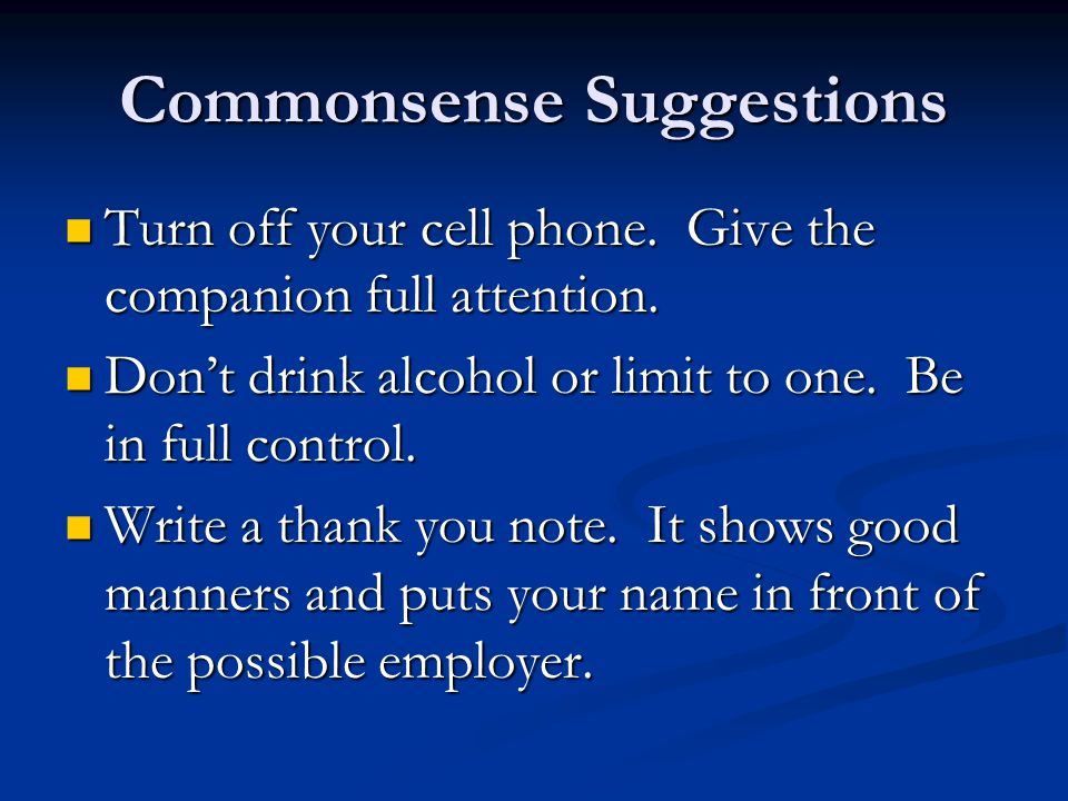 Commonsense Suggestions