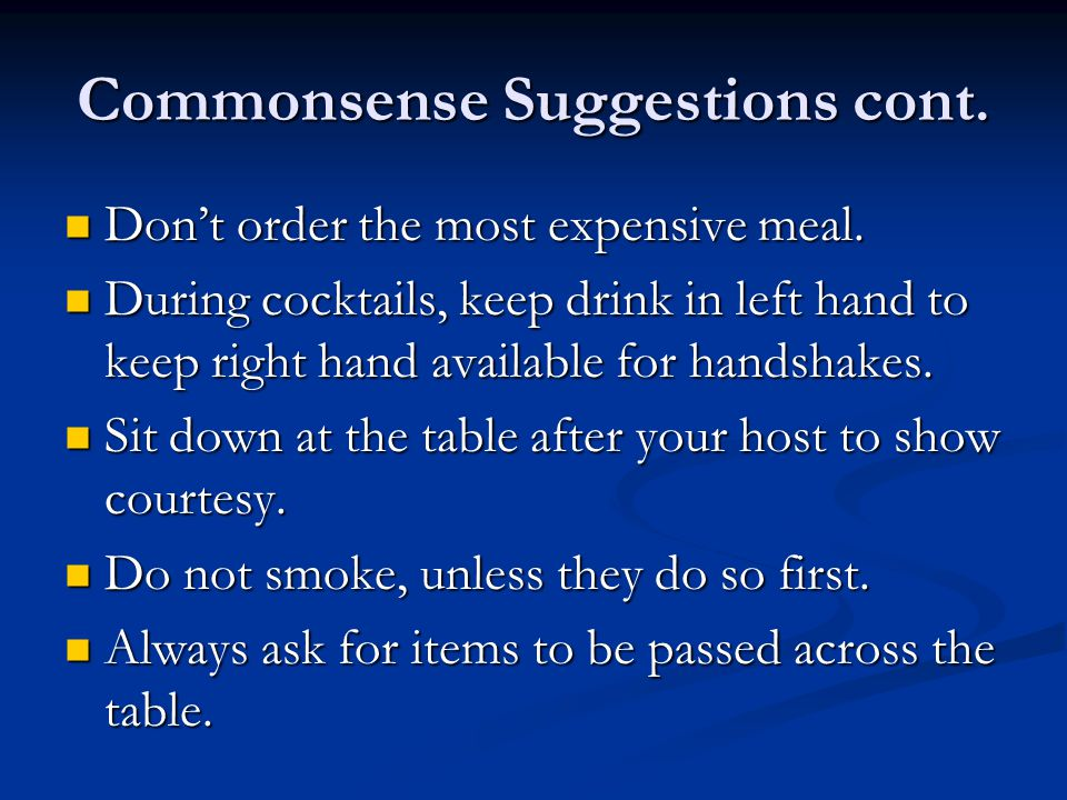 Commonsense Suggestions cont.