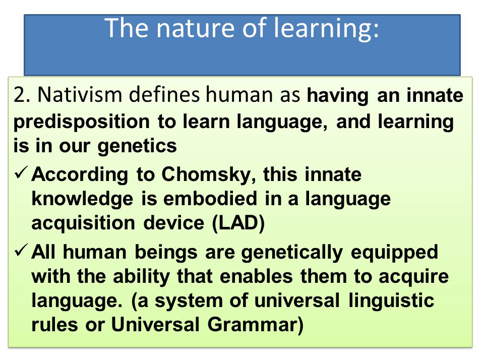 language innate or learnt 1 1abstract evolutionary psychology  these are learnt  the authors clearly believe strongly that these systems are innate, and express this by the language.
