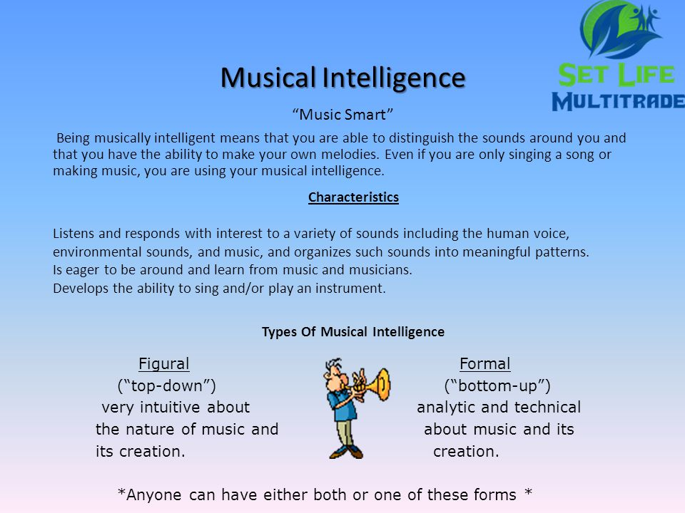musical intelligence Musical intelligence is evident in individuals who possess a sensitivity to pitch, melody, rhythm, and tone those demonstrating this intelligence.