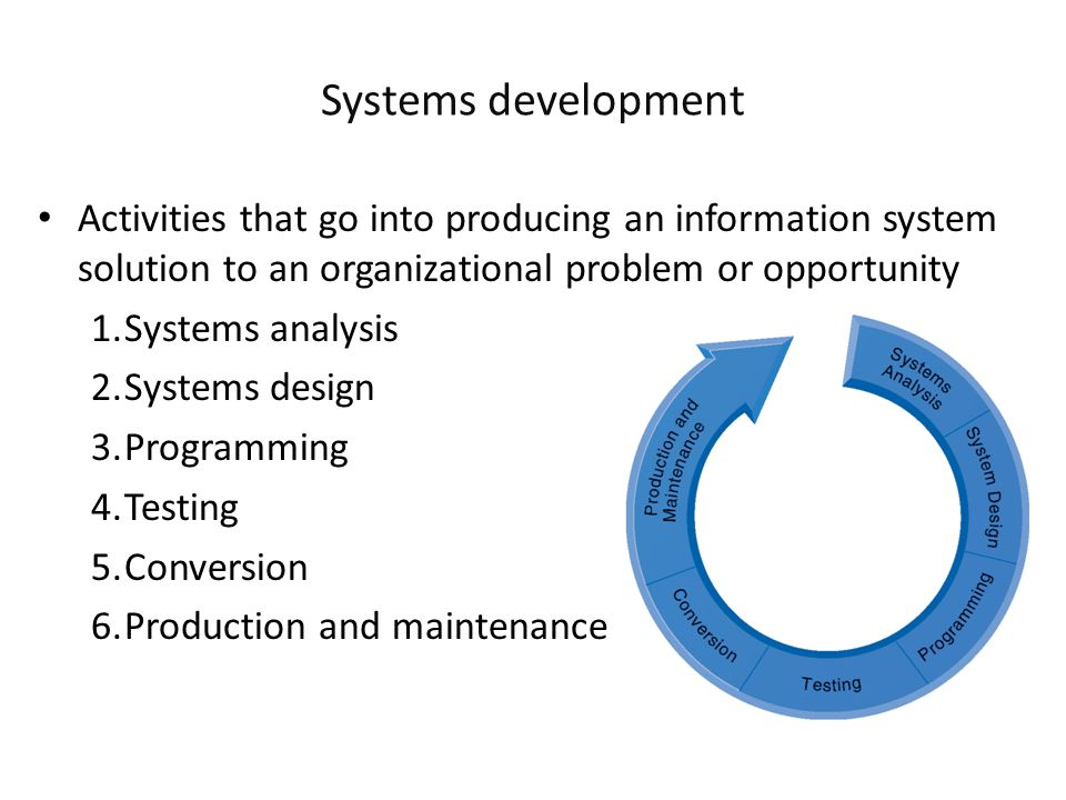Systems development Activities that go into producing an information system solution to an organizational problem or opportunity.