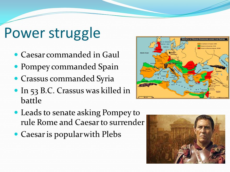 Power struggle Caesar commanded in Gaul Pompey commanded Spain