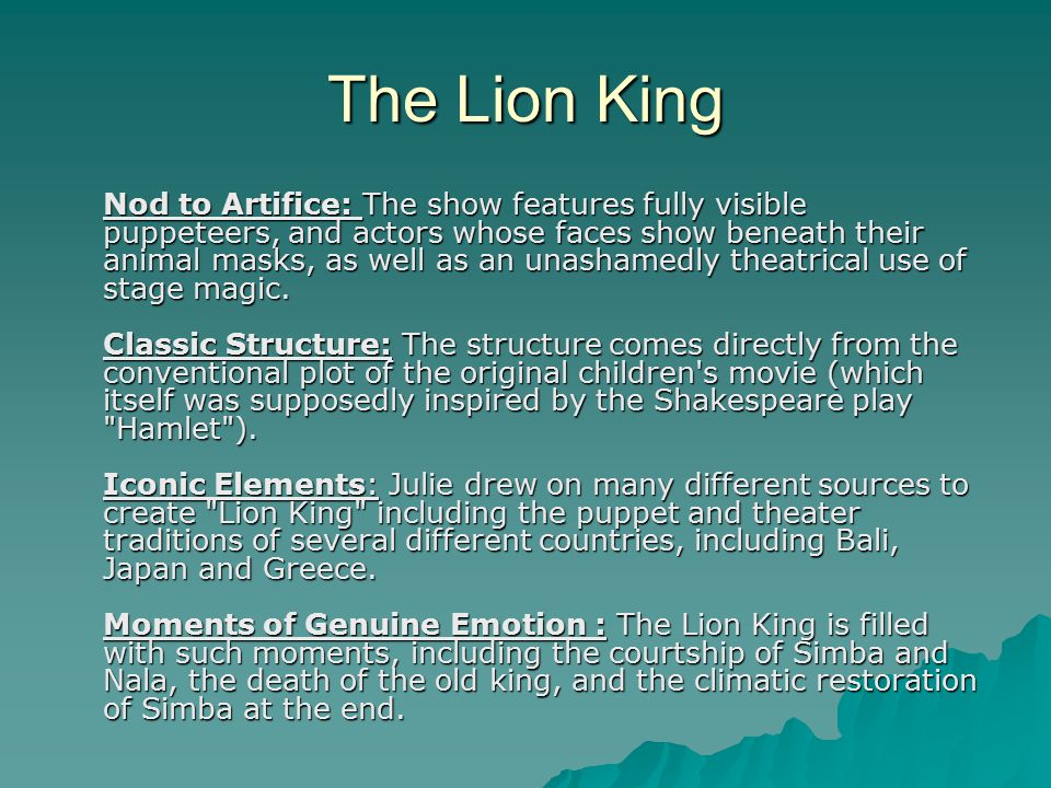 the storyline similarities in the movie the lion king and the book hamlet Lion king vs hamlet the movie, the lion king, and the book, hamlet, both have a similar story line in both stories, the king is killed and revenge is sought by the king's son.