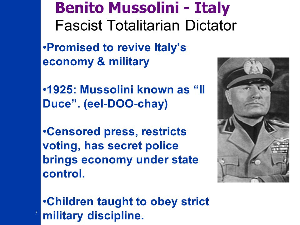 benito mussolinis doctrine of fascism Fascism is absolute government control over private business socialism is absolute government control over nationalized business both are huge-government liberalism, and no where near a conservative, capitalist society.