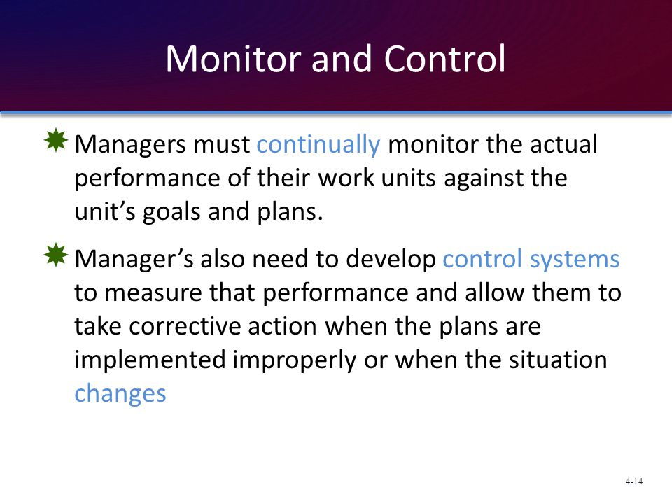 Monitor and Control Managers must continually monitor the actual performance of their work units against the unit's goals and plans.